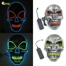 Party Cosplay Mask Button LED Light Up Flashing Skull Mask Skeleton Halloween Rave Party Lighting Festival Horror Mask Props