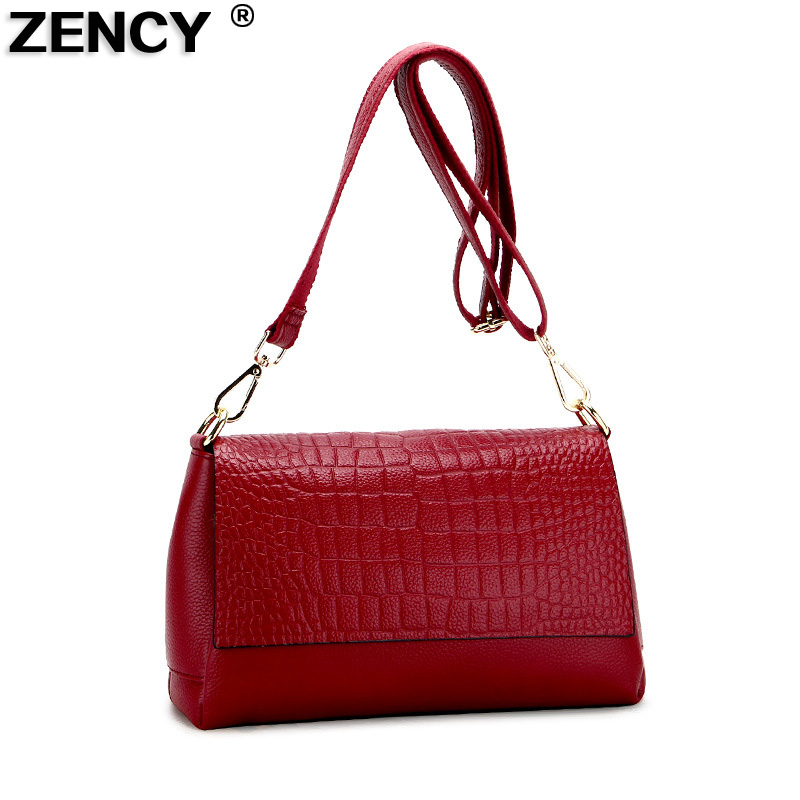 ZENCY Women Fashion Small Real Cowhide Luxury Famous Brands Handbag Genuine Leather Tote Shoulder Messenger Crossbody Bag sgarr fashion pu leather casual tote bag famous brands small women embroidery handbag shoulder bags luxury female crossbody bag