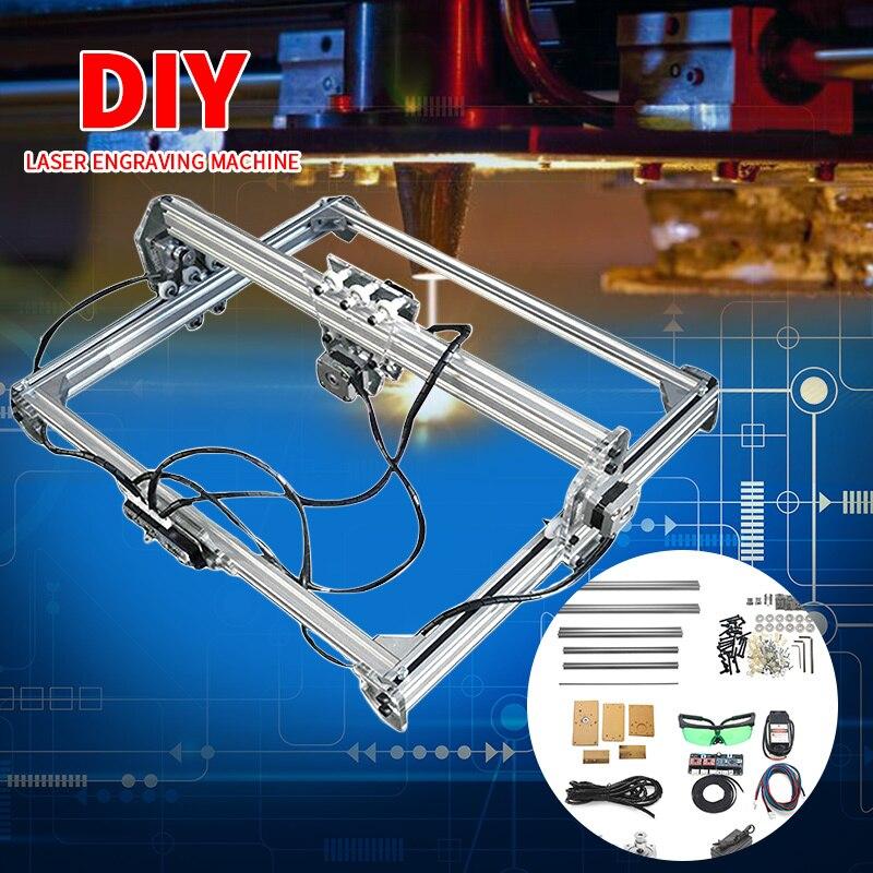 Mini 3000 mW Machine de gravure Laser 2 axes DC 12 V bleu CNC bricolage graveur bureau bois routeur/Cutter/imprimante + Laser lunettes 50*65 cm