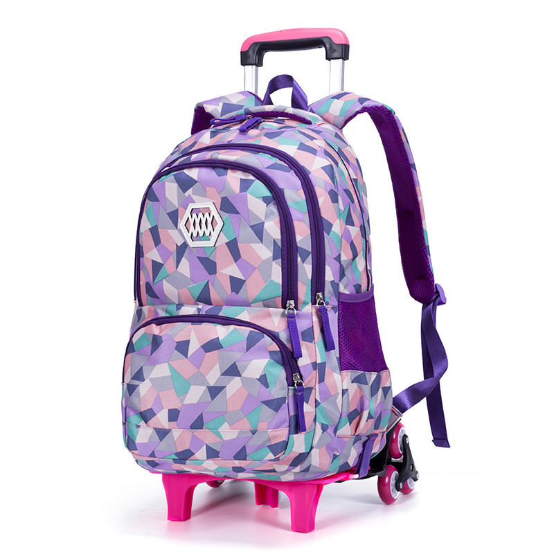 Children Detachable Trolley School Bag Backpack Wheeled School Bag For Grils Boys Kids 2/6 Wheels Schoolbag Student Backpacks children trolley backpack school bags boys grils wheeled bag student detachable kids school rolling backpacks travel bag mochila