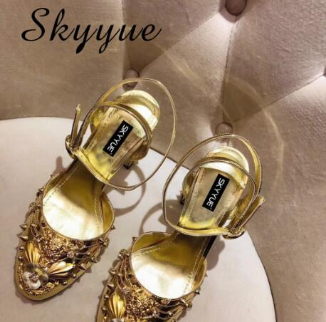 Glod Silver Genuine Leather Mary Janes Summer Autumn Pumps Crystal Beading Studded Women HIgh Heels Shoes Women