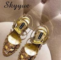 SKYYUE Glod/Серебристые туфли лодочки mary janes из натуральной кожи, сезон лето осень, женские туфли на высоком каблуке, украшенные стразами и бусина