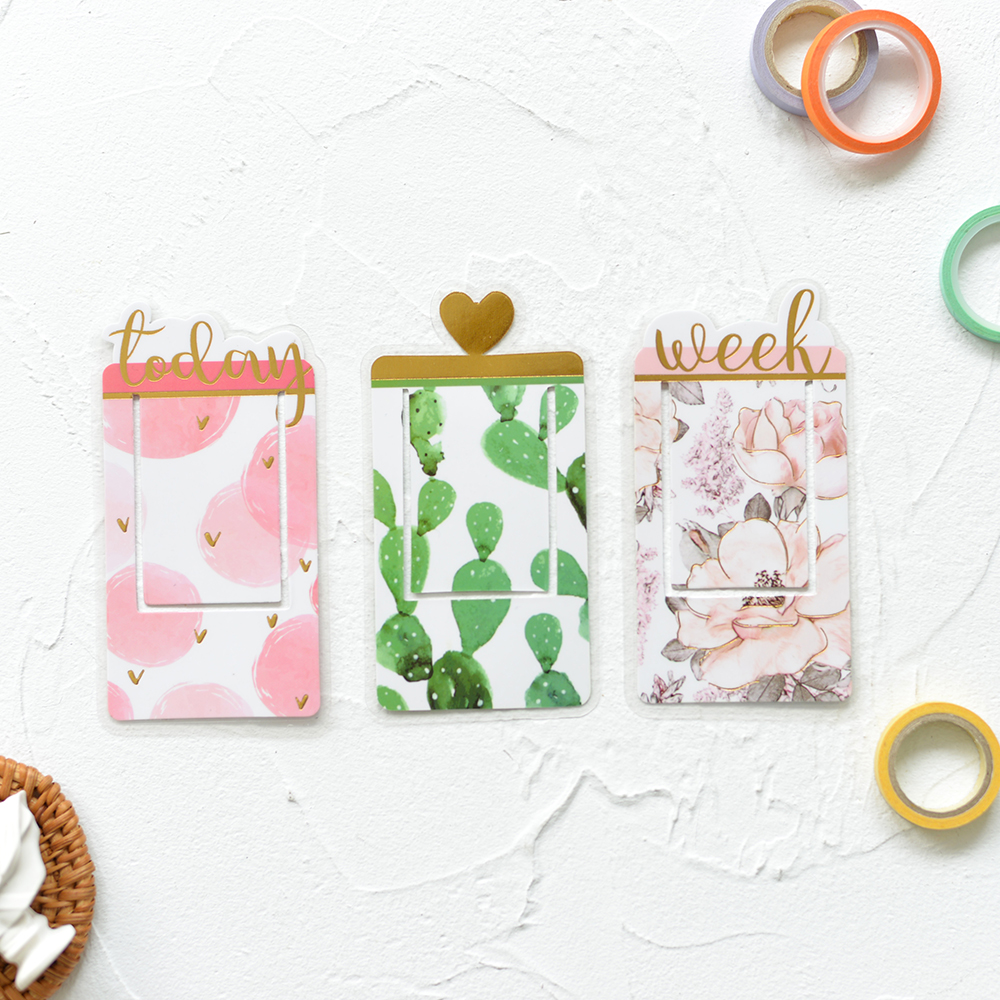 Lovedoki Cute PVC Transparent Bookmark Plastic Covered Paperclip Index Bookmarks For Books Planner Diary Accessories Stationery