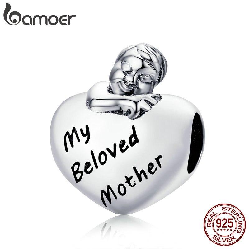 BAMOER Аутентичные стерлингового серебра 925 любимой маме выгравировать для маленьких девочек мальчик в сердце бусы, браслет fit украшения подар...