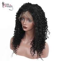 250% Density Lace Front Human Hair Wigs Pre Plucked Hairline Brazilian Deep Curly Lace Front Wig Remy Natural Black Ever Beauty