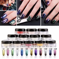 12 Boxes Magic Mirror Chrome Effect Dust Shimmer Nail Art Powder 12 Colors 12 Brushes Manicure