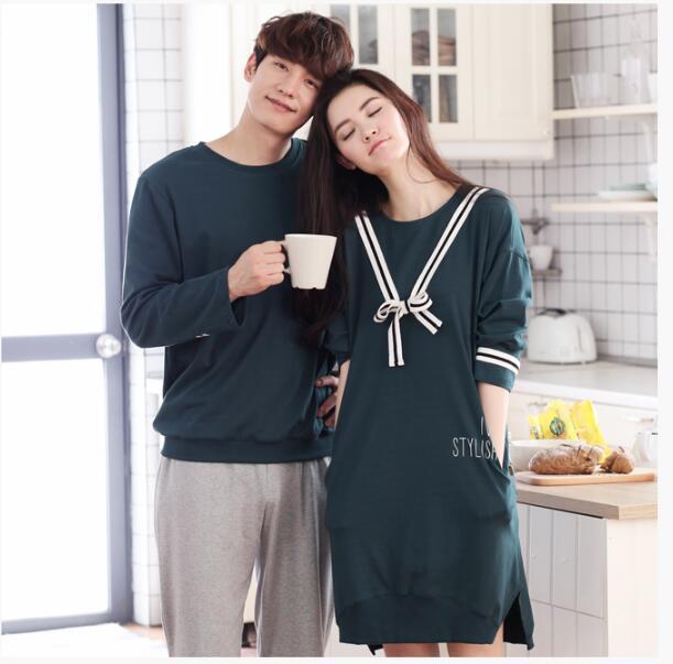 Pyjamas women Couples home service Leisure home service Long-sleeved cotton sleep