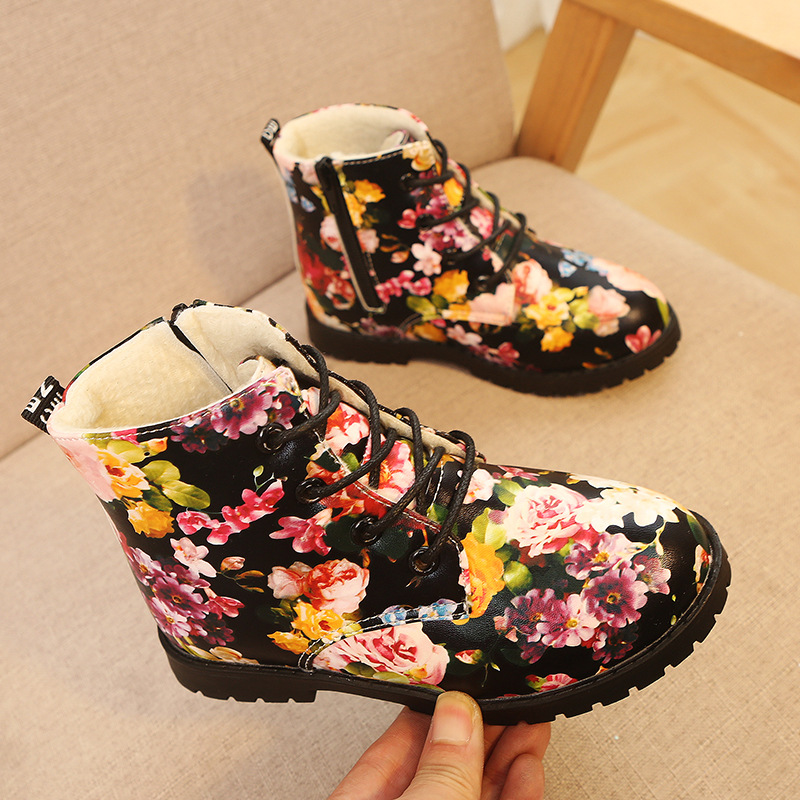 Girls boots winter children shoes kids baby plush velvet floral boots fashion girls baby snow boots warming
