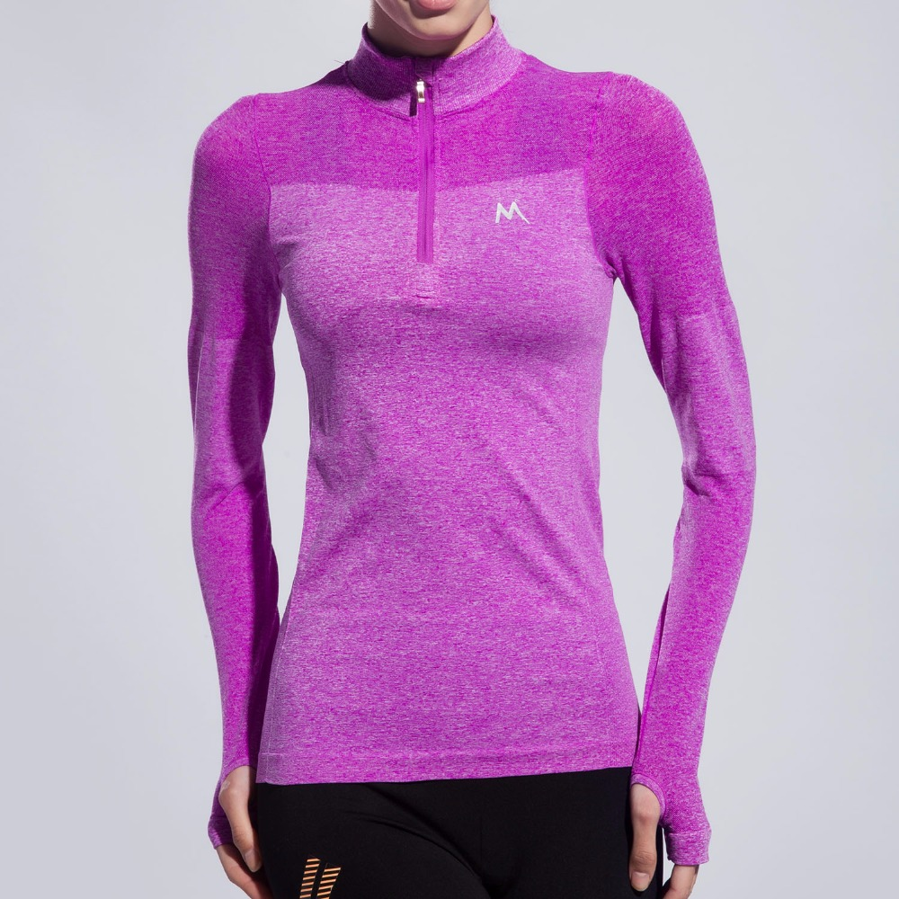 Women 39 s high elastic sports t shirts long sleeve stand for Long sleeve t shirts with collar