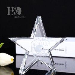 H & D niestandardowy kreatywny doroczne spotkanie kryształowe trofeum napis gwiazdka zwycięzcy nagrody szkło rzemiosło ozdoby spersonalizowane darmowe grawerowanie w Figurki i miniatury od Dom i ogród na