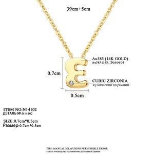 Image 4 - CZCITY Echtem 14K Gold Petite CZ Initial Brief Anhänger Halsketten für Frauen Einzigartige A Z Brief Halskette Schmuck Geschenke