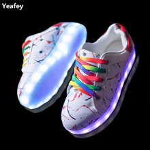 Yeafey Women Sneakers Girls Fashion Shoes Led Children Luminous Sneakers Krasovki Womens White Colored Shoelaces Female Shoes