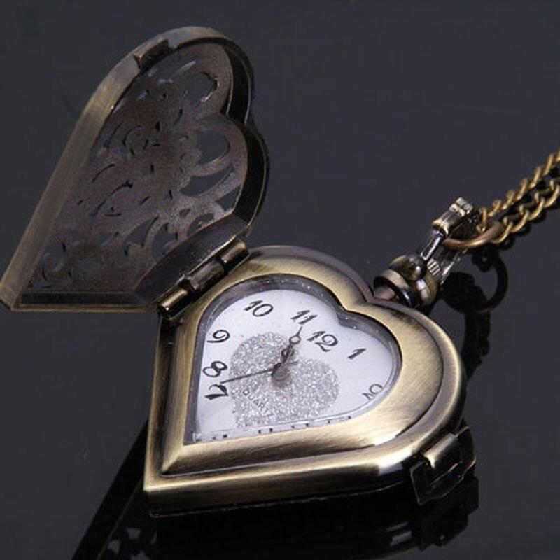 Antieke bronzen holle hart vorm zakhorloge vrouwen horloges mannen - Zakhorloge - Foto 4