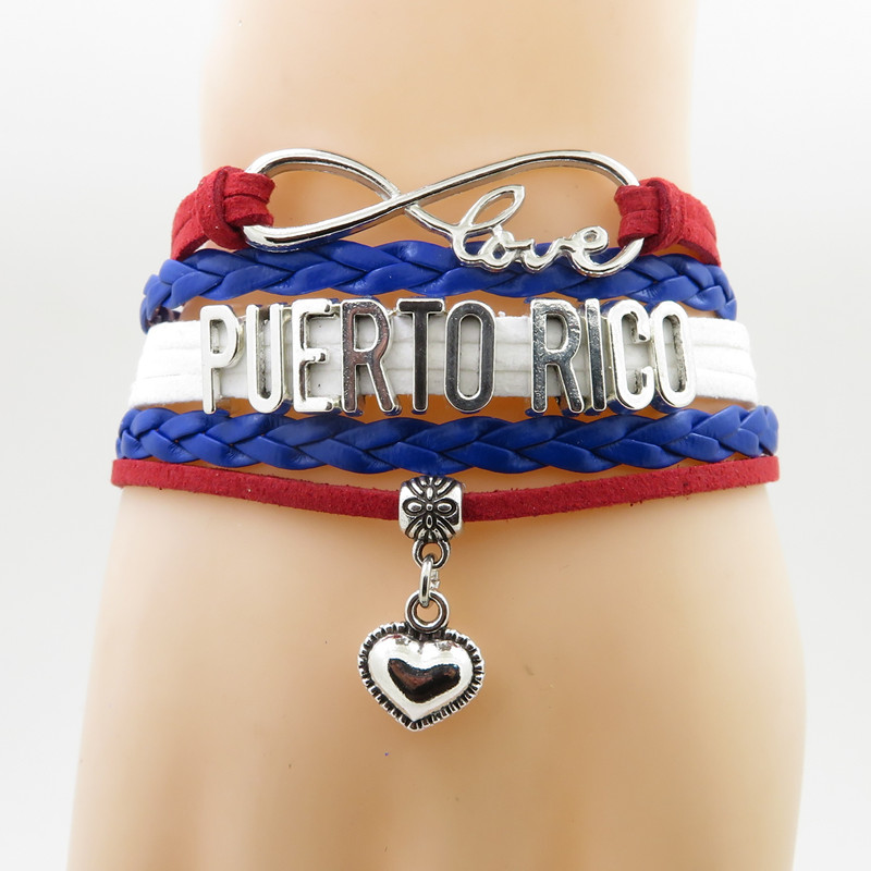 Love Country Puerto Rico Bracelet Heart Charm Patriot -4529