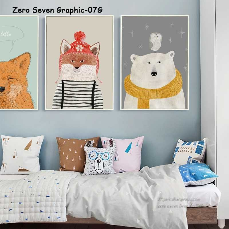Cartoon Animal Polar Bear Canvas Poster And Print Wall Picture Art Children's Room Home Decoration