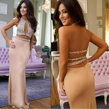 New Mermaid 2 Piece Prom Dresses 2017 Custom Beading Satin Vestidos De Gala Backless Evening Gowns Formal Dress