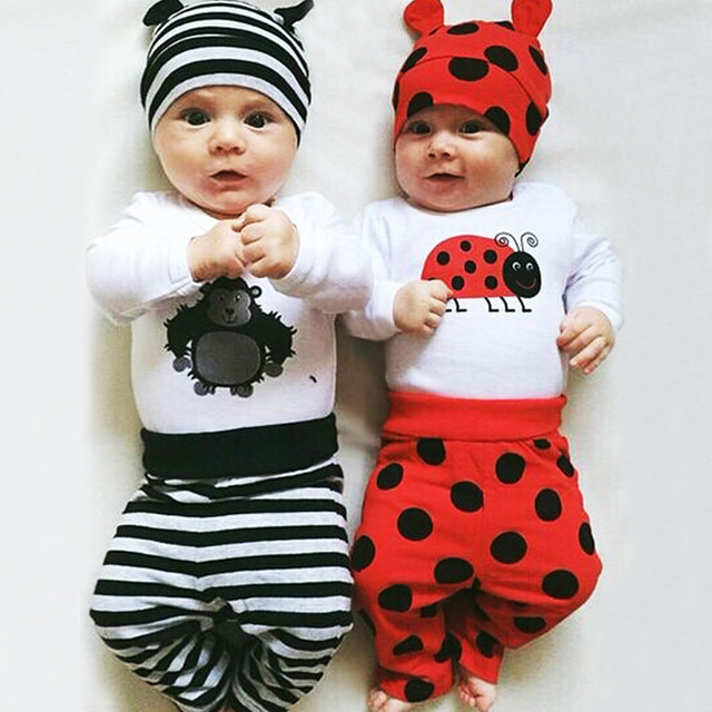 Autumn And Spring New Baby Clothes Animal Printing Long Sleeve T-Shirt+Full Length Pants+Hat 3 Pcs Set Casual Bebe Outwear 0-2Y