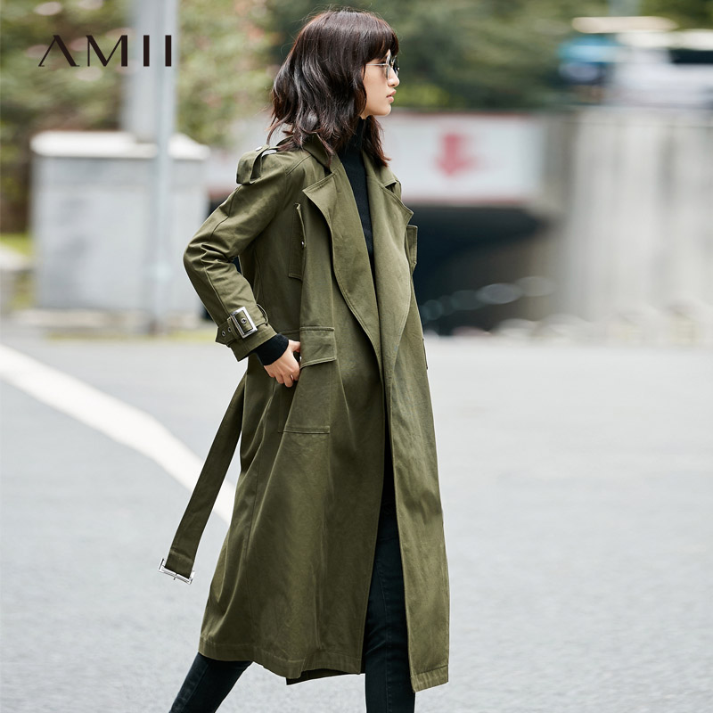 Amii Casual Women   Trench   Coat 2019 100% Cotton Wide-waisted Turn-down Collar Adjustable Waist Female   Trench   Coats