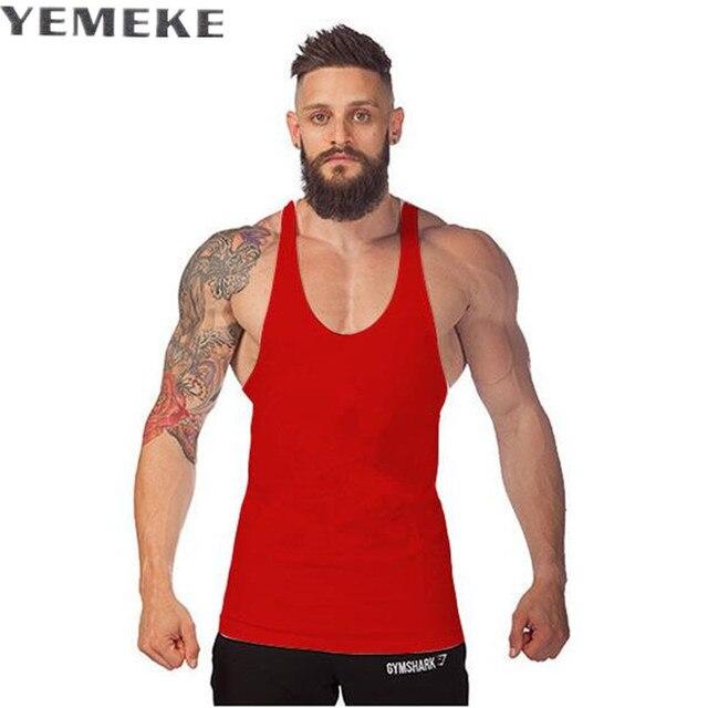 Tank Uomini Bodybuilding Top Canotta Brand Fitness Stringer kTPZuXOi