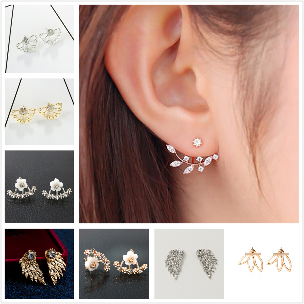 Jewelry Earrings Leave Crystal Statement Gold Silver-Plated Women Fashion And Pair