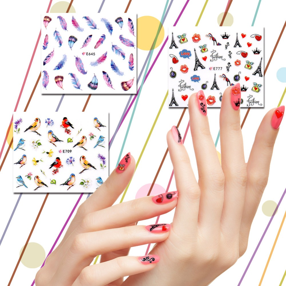 Blulu 648 Pieces Moon Shape Design French Manicure Nail Art Stickers