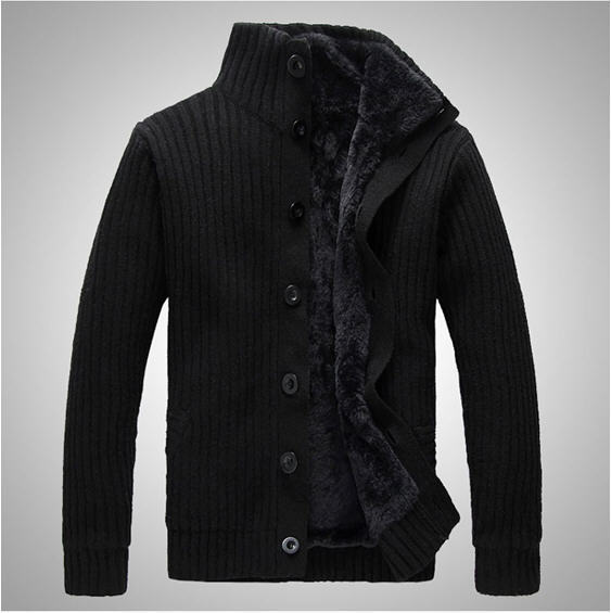 Sweater male thick knitted cashmere sweater male sweater plus velvet thickening outerwear cardigan male N889