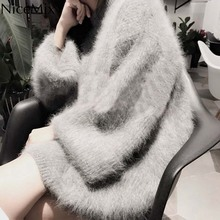 NiceMix 2019 Autumn And Winter Women Clothes Thick Warm Plus Size Hairy Faux Mohair Sweaters and Pullovers Flare Sleeve Jersy children autumn and winter warm clothes boys and girls thick cashmere sweaters