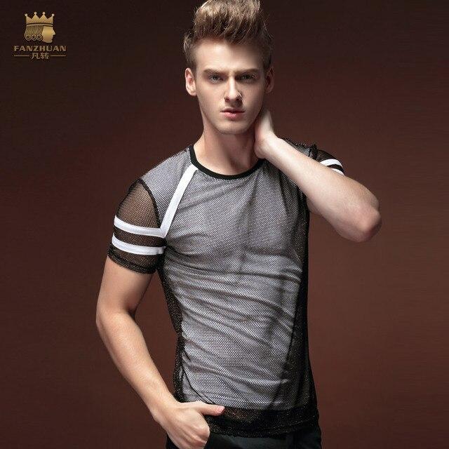 فانزوان شحن مجاني أزياء جديدة غير رسمية للرجال الذكور رقيقة شخصية الصيف قصيرة الأكمام مزدوجة الغزل تي شيرت ضيق 15597