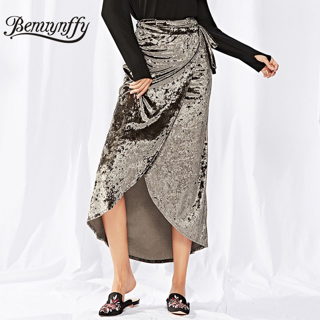c5a195a15 Benuynffy 2018 Autumn winter Women Solid Wrap Tie Long Skirt Ladies New  Arrival High Waist Asymmetrical Skirts Womens Clothing