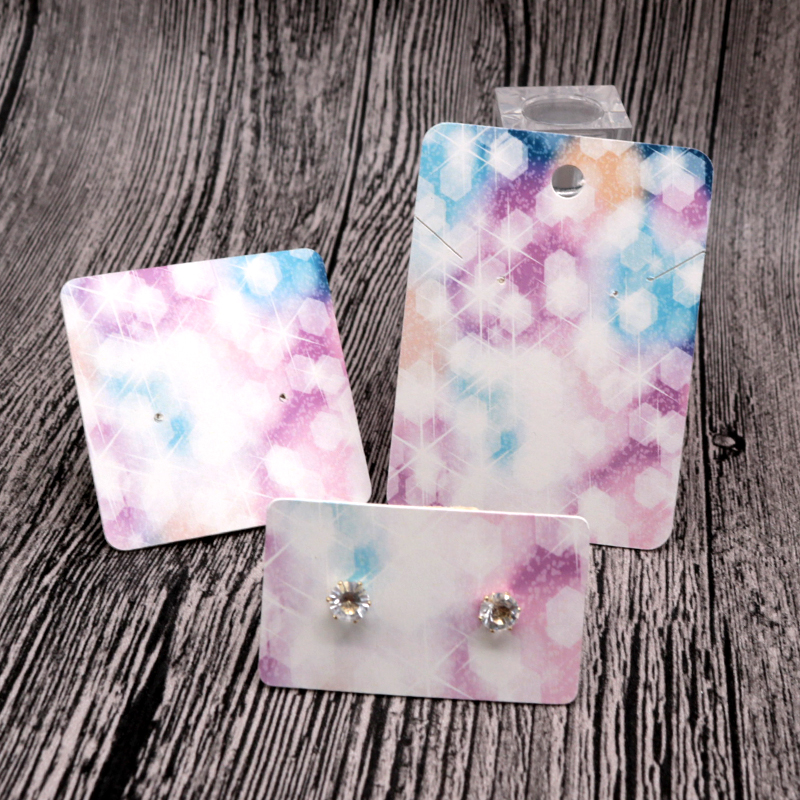 New Fashion 100Pcs/lot Paper Earrings Card Jewelry Necklace Cards Colorful Light Print Bracelet Hairpin Display Packaging Card