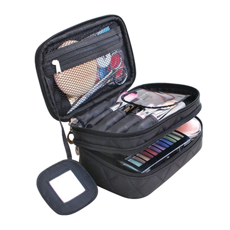 Double Layer Cosmetic Bag Multifunctional Women Make Up Bag With Mirror Beauty Cosmetic Storage Bag Portable Handbag