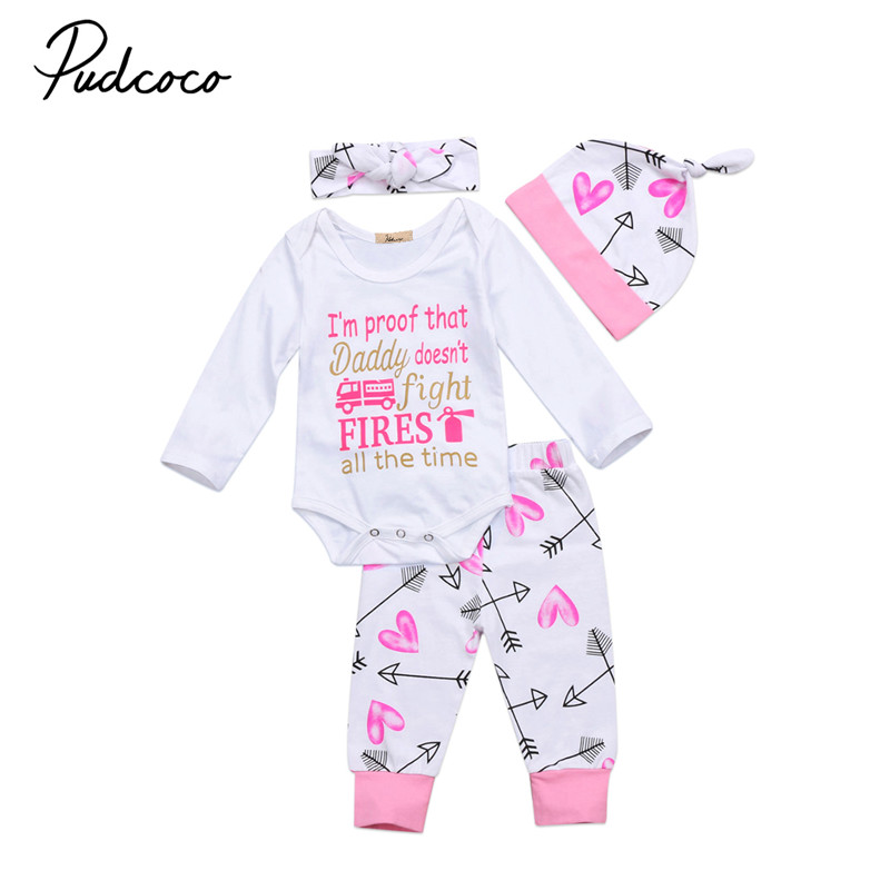 0 to 24M Newborn Baby Girls Clothes Long Sleeve Princess Top Romper+Long Pants+ Hat+Headdress 4PCS Outfits Clothes Set 0-24M