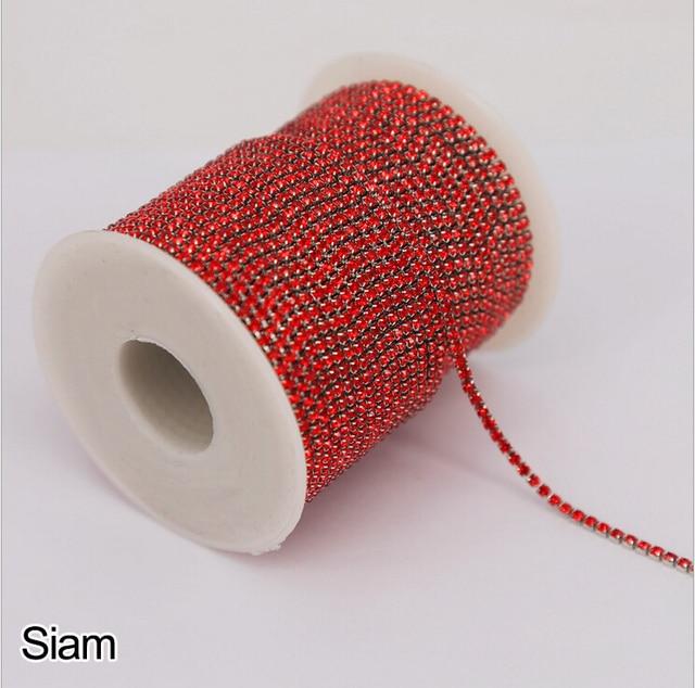 Feilang-chaîne strass transparente 16 couleurs | 2 Yards/lot de 1.5/2/2.5/2.8/3mm pour le bricolage, accessoires pour vêtements de couture Artesanato