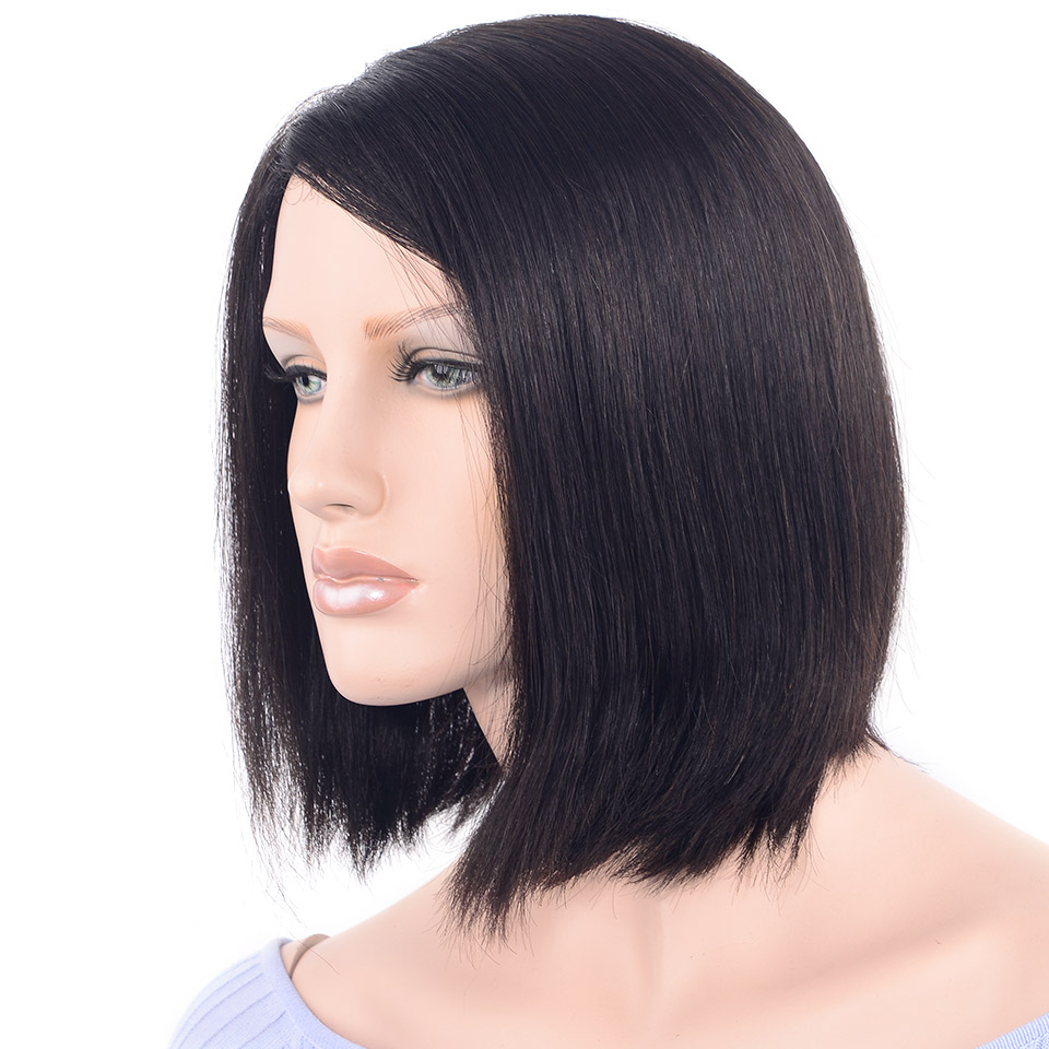 CHOCOLATE Bob Straight Human Hair Wigs for Women 180% Density 5 Colors Remy Hair Part Hand Made Lace Wig 12 Inch