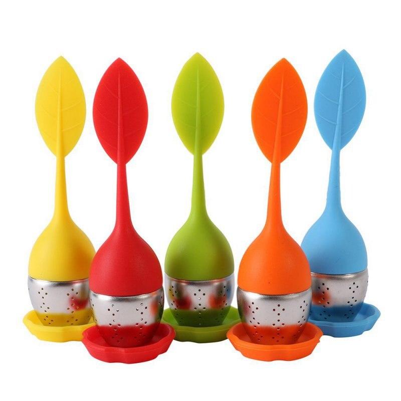 1 Infusor de té de fresa, colador de té de hoja de bola de acero inoxidable para Dispositivo de elaboración de hierbas, utensilios para filtro de cocina