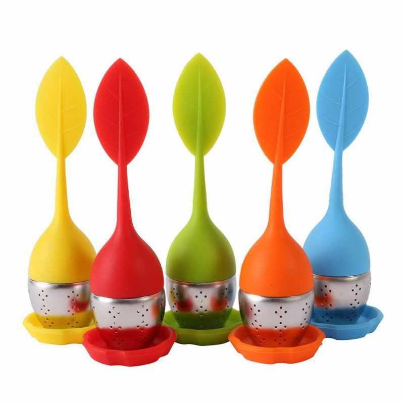 1pc Erdbeere Tee-ei Edelstahl Tee Ball Blatt Tee Sieb für Brau Gerät Herbal Spice Filter Küche Werkzeuge