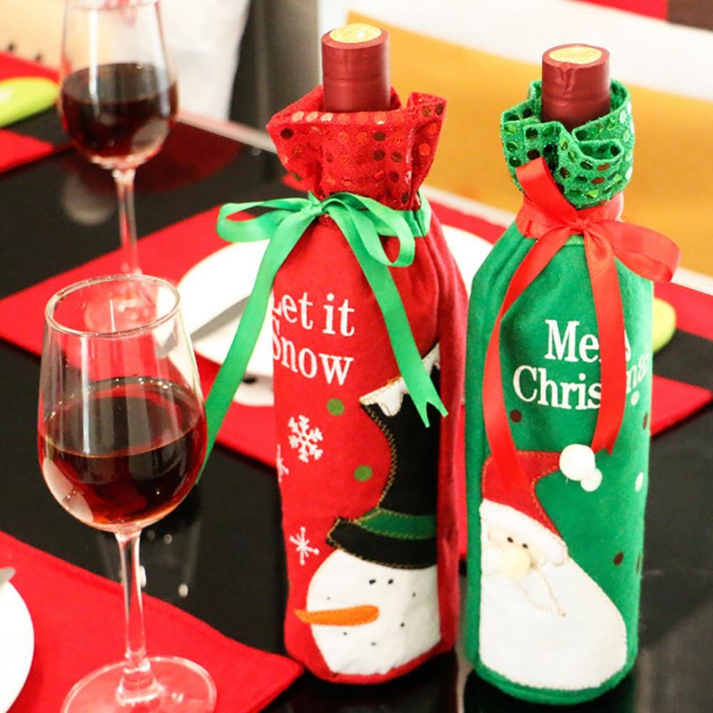 Christmas Wine Bottle Cover Set Santa Claus Snowman Deer Bottle Cover Clothes Kitchen Decoration New Year Christmas Dinner Decor Wine Bottle Covers Household Merchandises