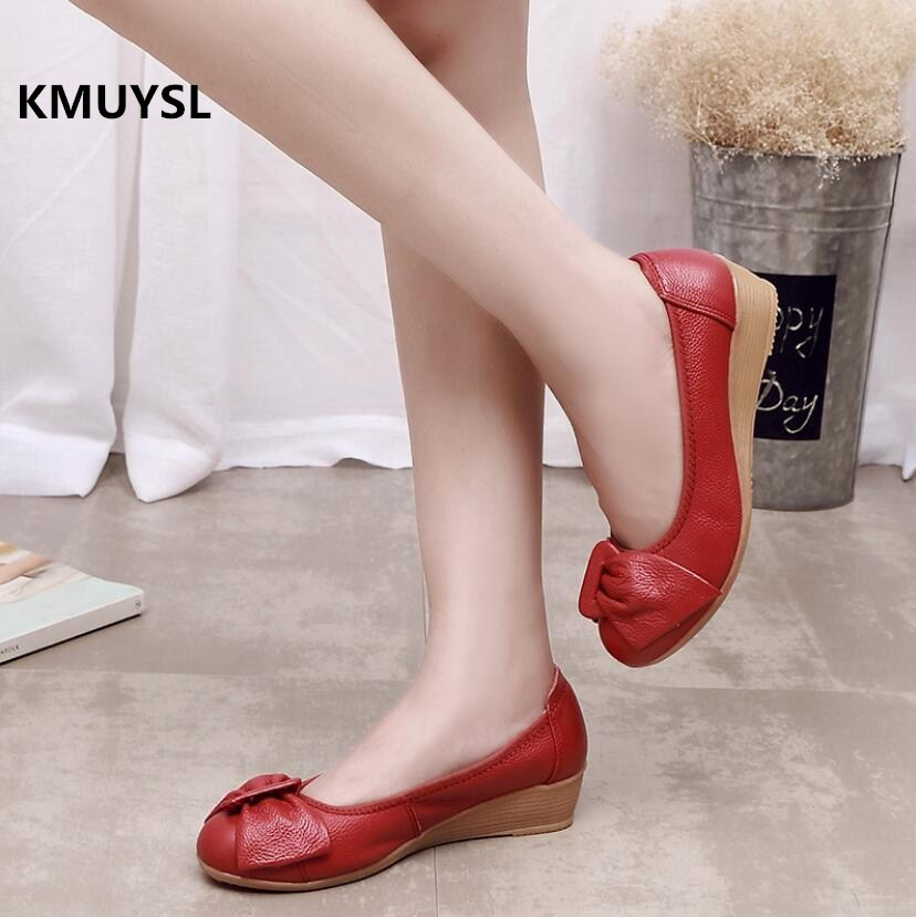2018 New Spring /Autumn Fashion Wedges Shoes Genuine Leather Women Low-heeled White Casual Shoes Woman Nurse Shoes 2017 new spring imported leather men s shoes white eather shoes breathable sneaker fashion men casual shoes