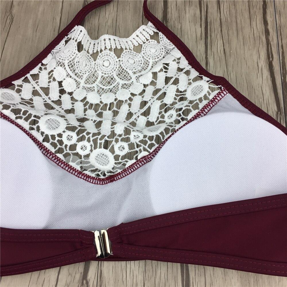 Сексуальные заниженной талией бикини Для женщин Maillot De Bain Femme Купальники для малышек Кружево цвет красного вина Холтер Для женщин Biquini бразильский купальник бикини