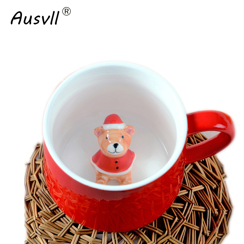 Ausvll Milk Cups Special Design Cute Sweet Look Coffee Cup Plain Gift Friends Ceramic Tea Cup Stereoscopic Animals Trend Mugs