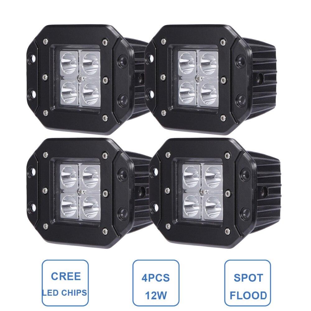 12W Offroad LED Work Light Flush Mount For Jeep Ford Bumper Rear Backup Car 4X4 Trailer Truck SUV ATV Pickup Wagon 12V 24V Lamp