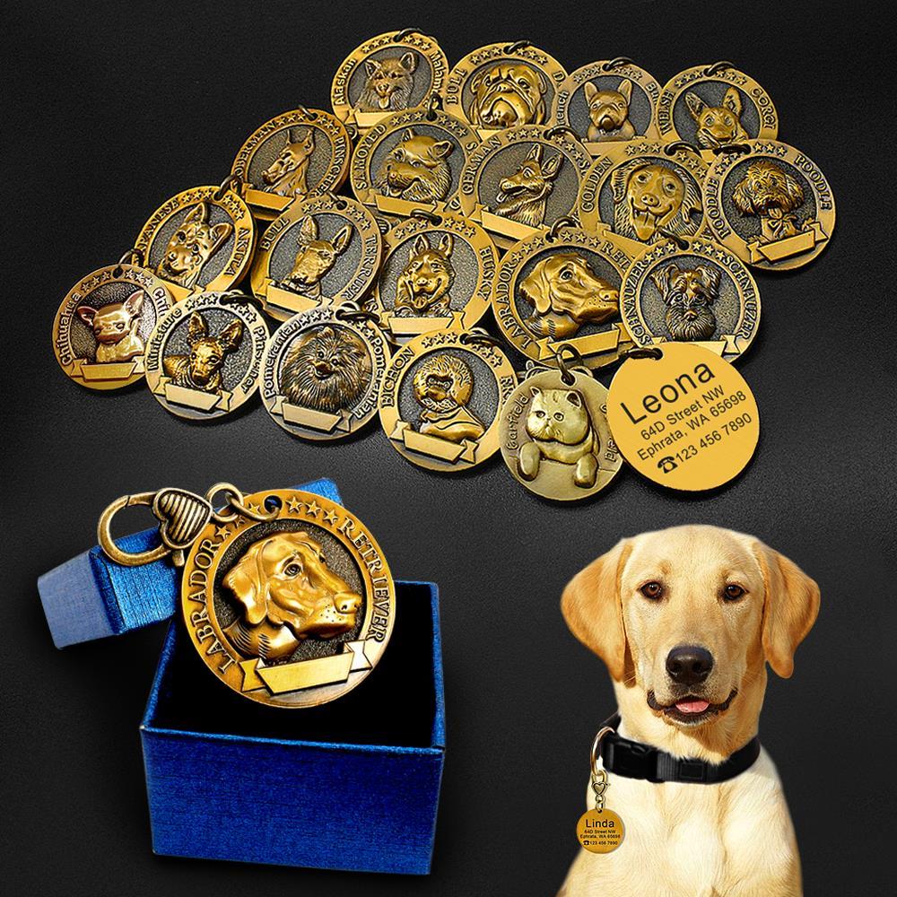 Dog Tag ID Inciso In Metallo Personalizzato Pet Dog Tag Personalizzati Puppy Cat ID Nome Tag Collare Accessori Per Cani Collane pendenti con gemme e perle