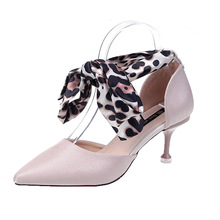 Summer 2019 New Cleaheels Xiaoqing High-heel Slim and Baitie Sexy Leopard-print Sandals
