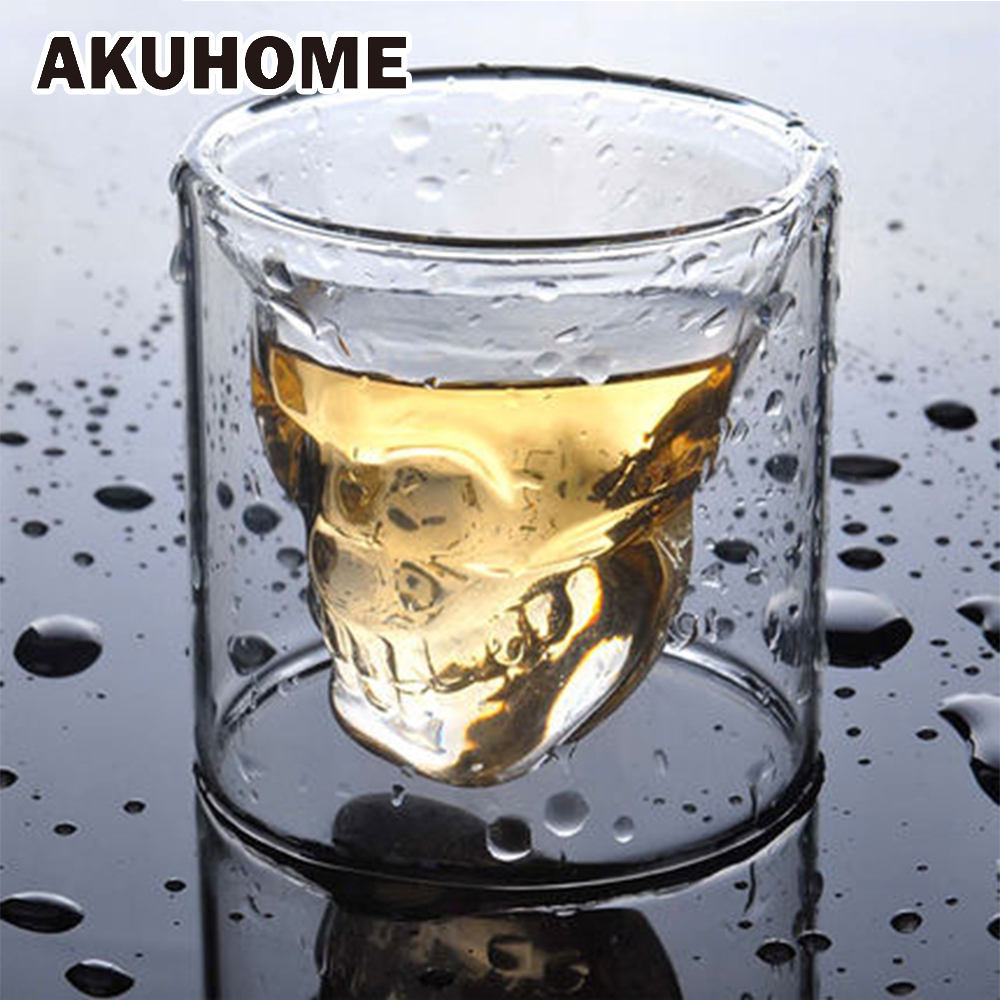 3 maten Two ways Shot Transparent Crystal Skull Head Glass Cup voor Whiskey Wine Vodka Bar Club beer wine glass