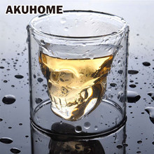 3 sizes Two ways Shot Transparent Crystal Skull Head Glass Cup For Whiskey Wine Vodka Bar Club beer wine glass(China)