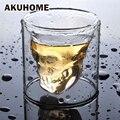 3 tamaños dos formas de disparo de cristal transparente de la cabeza del cráneo de vidrio taza whisky vino Vodka Bar Club cerveza de vidrio de vino