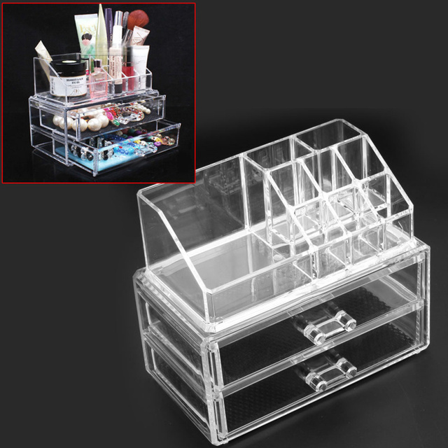 Multifunction Clear Acrylic Makeup Cosmetic Organizer 2 Drawers 9