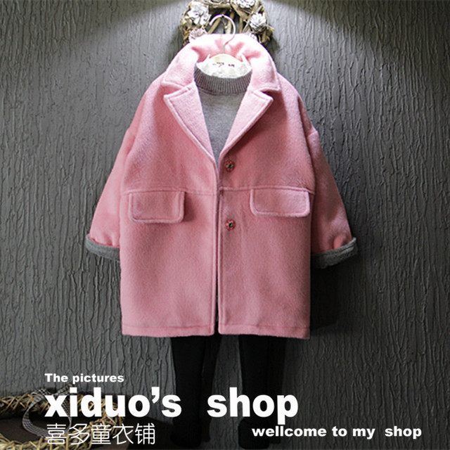 2017 spring autumn solid pink girls coats wool clothes 2-8years long - length Single-breasted children overcoats baby clothing