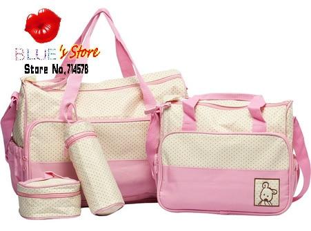 pink messenger baby diaper bag set blue shoulder mummy waterproof microfiber nappy - Blue's Store store