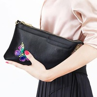 Fashion Clutch Bag Soft Genuine Leather Cow Leather Butterfly Pattern Clutches Purse Envelope Bags Women Shoulder Bag Crossbody
